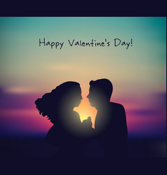 romantic couple sunset valentines day sign card vector image vector image