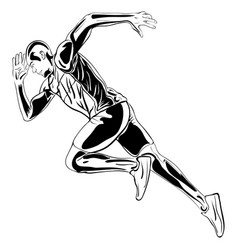 running man artwork ink drawing vector image