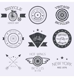 Set of old bikes shop logo set vector