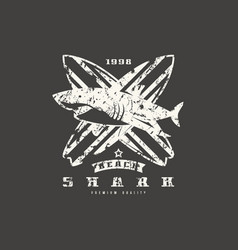 shark surfing emblem graphic design for t-shirt vector image vector image