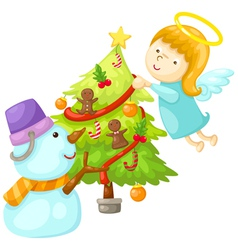 snowman with angel tree christmas vector image vector image