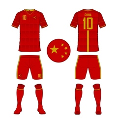 Soccer kit football jersey template for China vector image