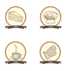 vintage bakery products vector image vector image