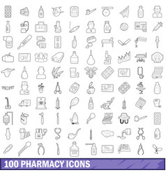 100 pharmacy icons set outline style vector image vector image