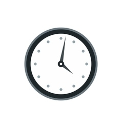 Wall clock with black rim icon flat style vector