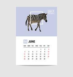 2017 June calendar zebra polygon vector image