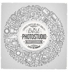 Set of photo studio cartoon doodle objects round vector