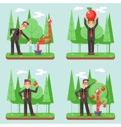 Successful businessman watering growth infographic vector