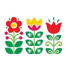 Swedish floral retro pattern traditional folk art vector image
