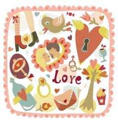Colorful cartoon romantic love background vector image