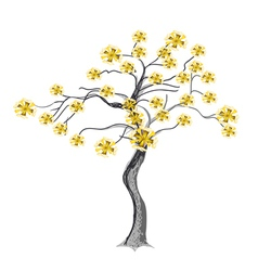 Beautiful yellow flowers on tree vector