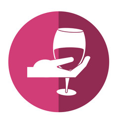 Hand holding glass cup wine shadow vector