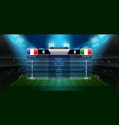 Soccer football stadium spotlight and scoreboard vector