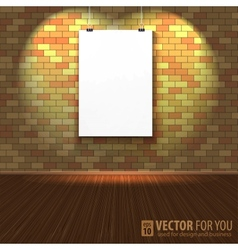 Brick wall with a blank page and lighting vector