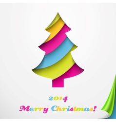 Colorful merry christmas greeting card with tree vector