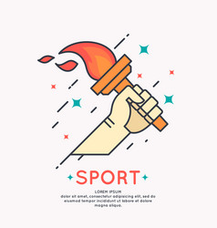 Hand with a burning torch for sports vector