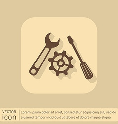 Screwdriver cogwheel and wrench icon setting and vector