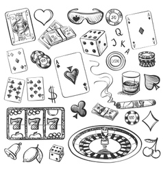 Hand drawn casino collection vector