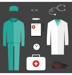 Complete set of medical clothes vector