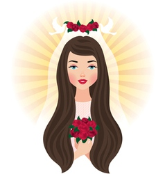 Bride with a bouquet of roses vector