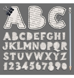 Alphabet and numbers cuted from newspaper vector image