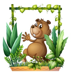 cartoon brown beaver vector image vector image