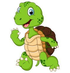 Cartoon cute turtle waving hand vector image