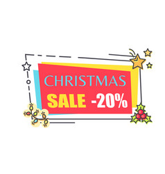Christmas sale 20 off promo sticker in frame vector