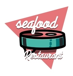 Color vintage seafood restaurant emblem vector