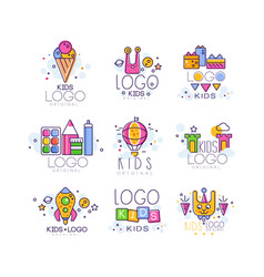 Creative colorful kids logo set in line style ice vector