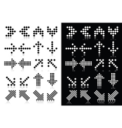 Dotted arrows icons set on white and black vector image