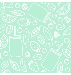 Fruits berries and smoothie jars outline seamless vector image