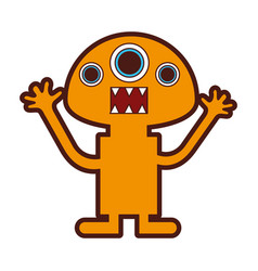 Funny monster character icon vector