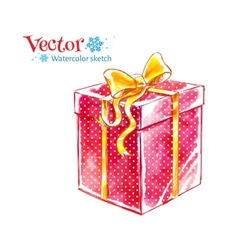 Gift box watercolor art vector