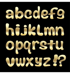 Gold english alphabet on a black background vector