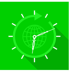 Green clock with globe icon flat style vector
