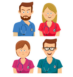 Hospital workers in multicolored scrubs vector