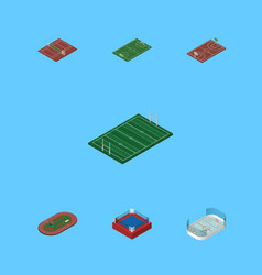 Isometric sport set of volleyball ice games vector
