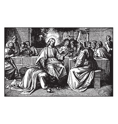 Mary magdalene washes jesus feet with her tears vector