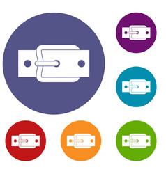 Metal belt buckle icons set vector