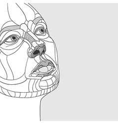 Original drawing women portrait construction vector