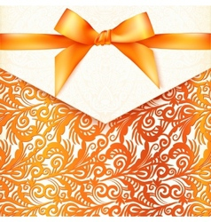 Ornate orange greeting card template vector image vector image