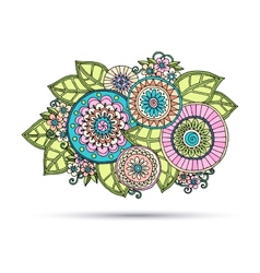 Paisley mehndi doodles abstract floral vector