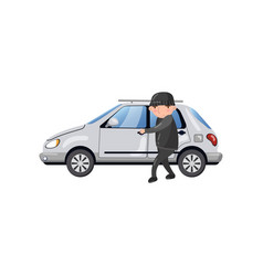 professional car thief character stealing and vector image