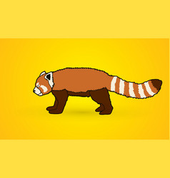 Red panda side view vector
