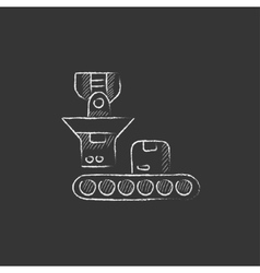 Robotic packaging drawn in chalk icon vector