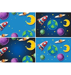 Scenes with rocket and planets vector image