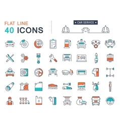Set flat line icons car service vector