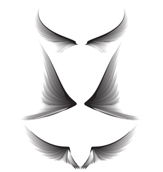 Set gray wings design element vector image vector image