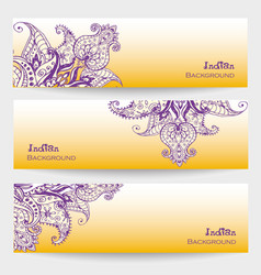 Set of three indian banners vector